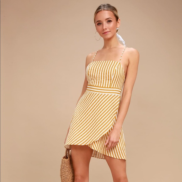 34e08b3a574 Central Park Yellow and White Striped Dress